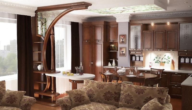 Дерево в кухне в классическом стиле