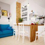 Фото 73: Кухня-студия в скандинавском стиле