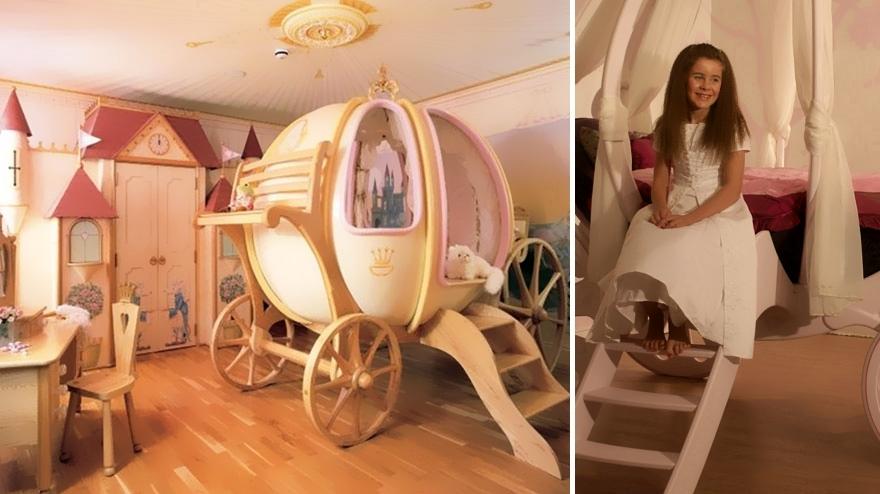 Комната для девочек с замком и каретой