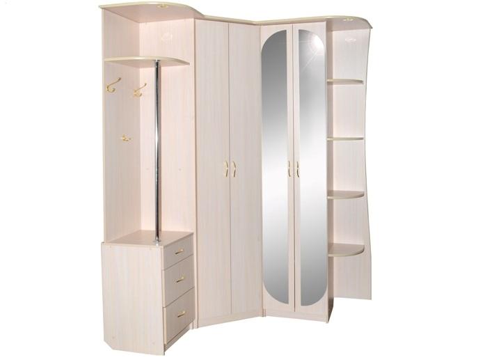Угловой шкаф в прихожую в светлых тонах