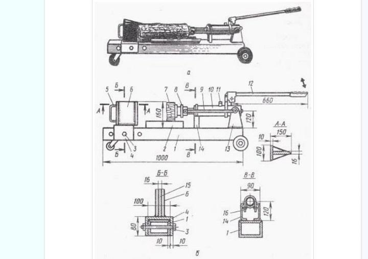 Чертеж гидравлического дровокола для изготовления своими руками