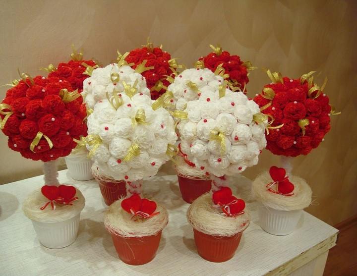 Красивые букеты из цветков из салфеток