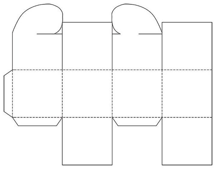 Шаблон коробочки с застежкой-сердечком