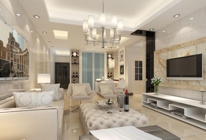 Красивый зал с люстрой под натяжной потолок