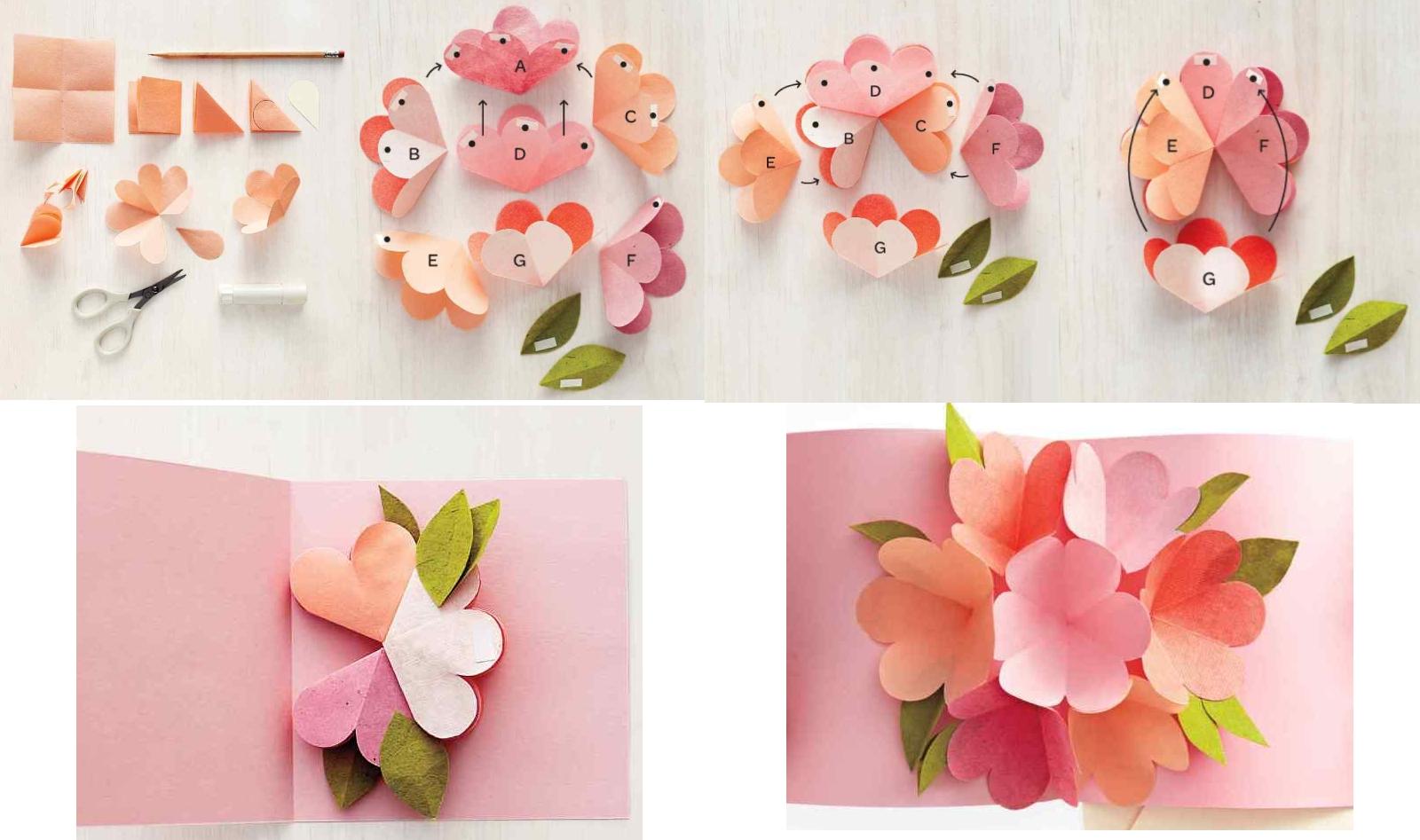Открытка с объемным букетом цветов из бумаги своими руками