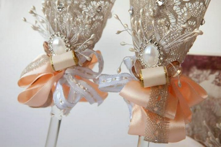 свадебные бокалы декор