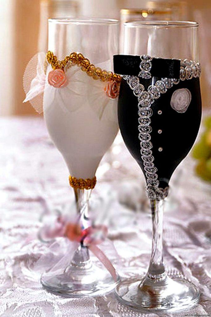 Как сделать самому свадебный бокал 677