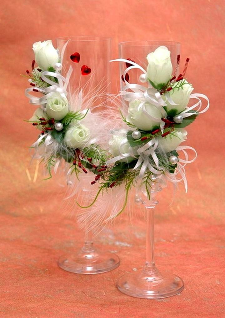 свадебные бокалы украшение цветами