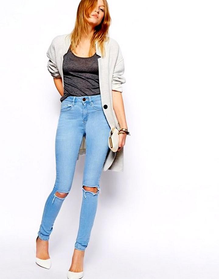 сочетание с рваными джинсами