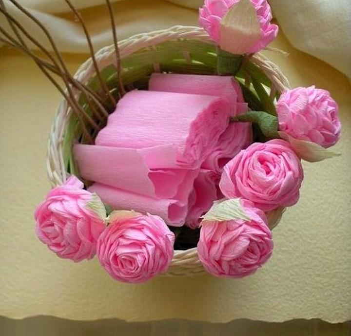 Розы из гофрированной бумаги своими руками видео