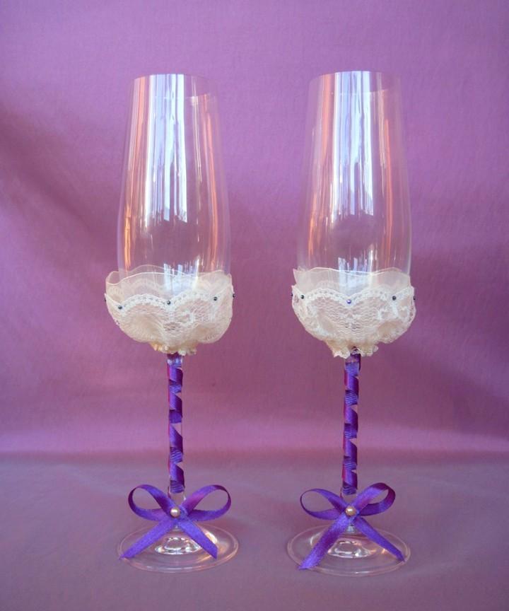 свадебные бокалы своими руками (3)