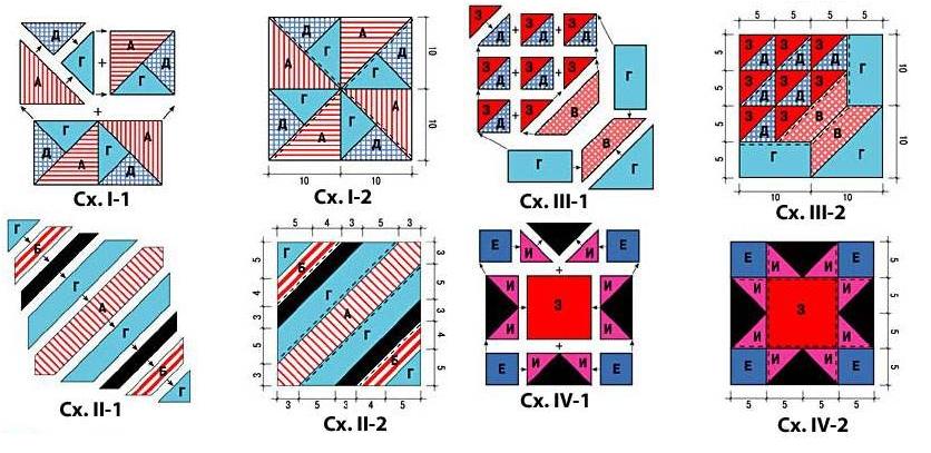 Схемы пэчворка из треугольников и полосочек