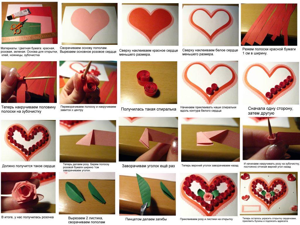 Изготовление открытки с сердечком квиллинг