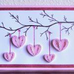 Фото 77: Аппликация в технике квиллинг с сердечками