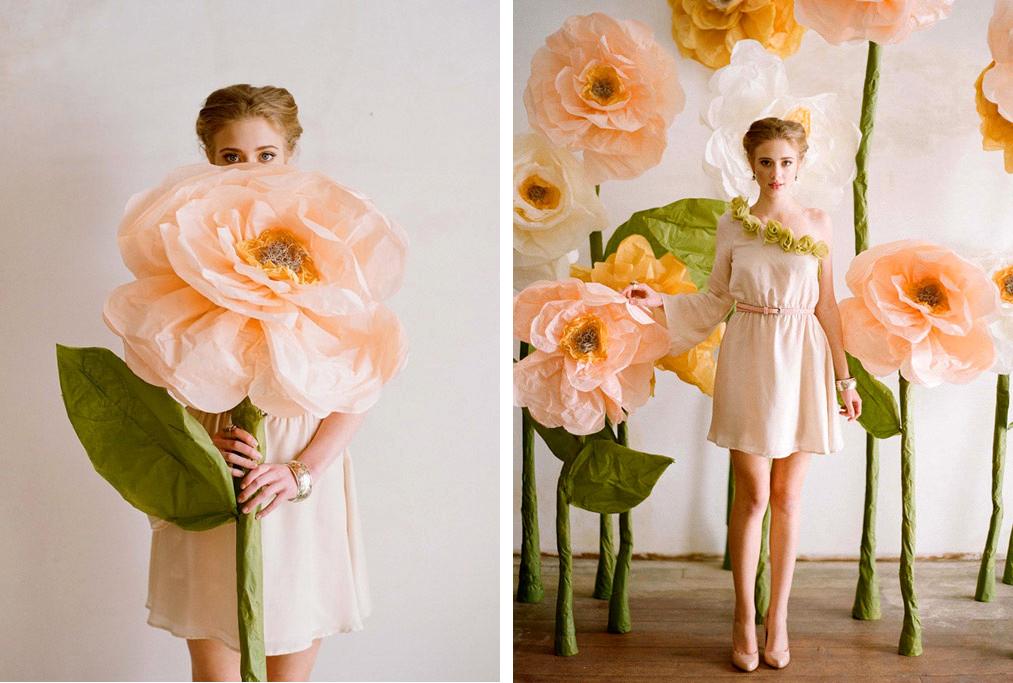 Большие цветы из гофрированной бумаги для фотосессии