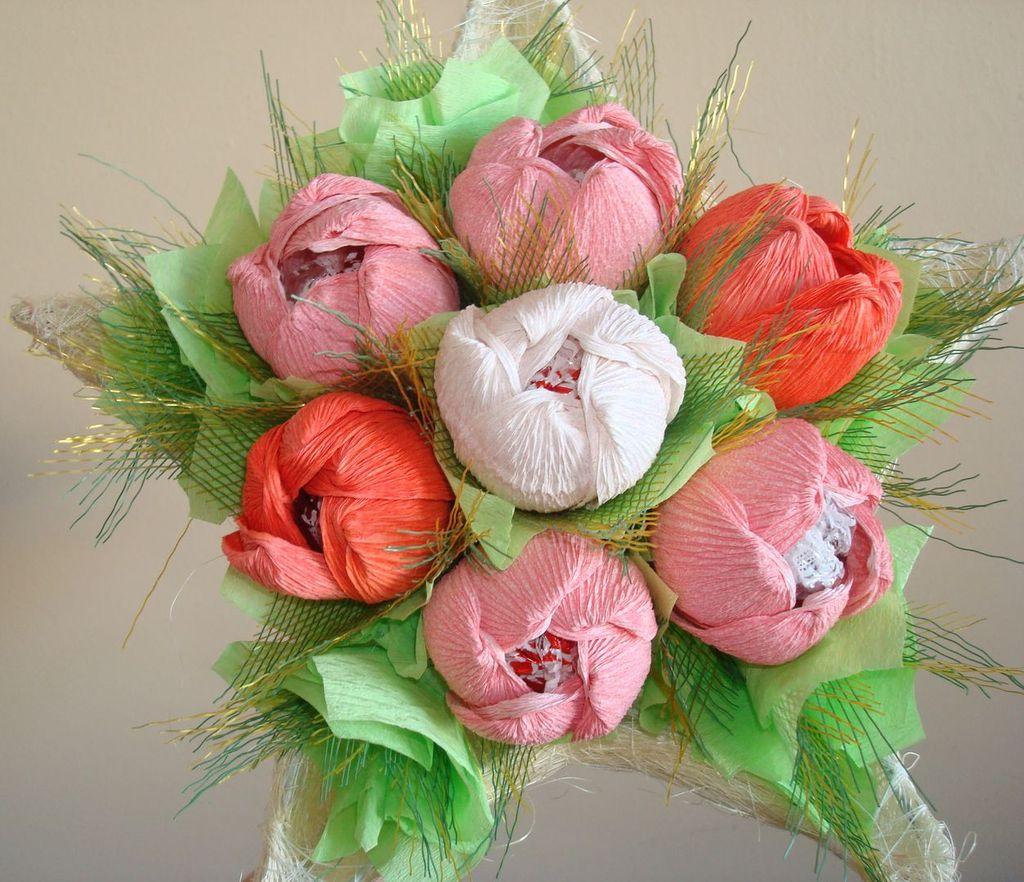 Букет цветов из бумажных цветов своими руками фото 894