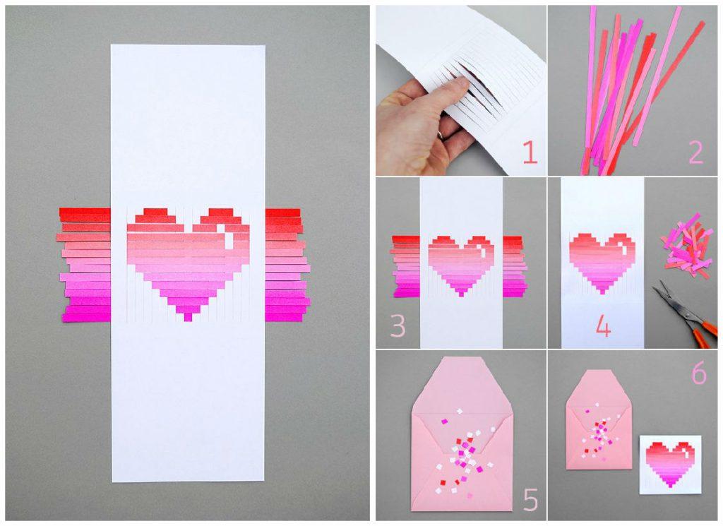 Градиентная валентинка из бумажных полосок