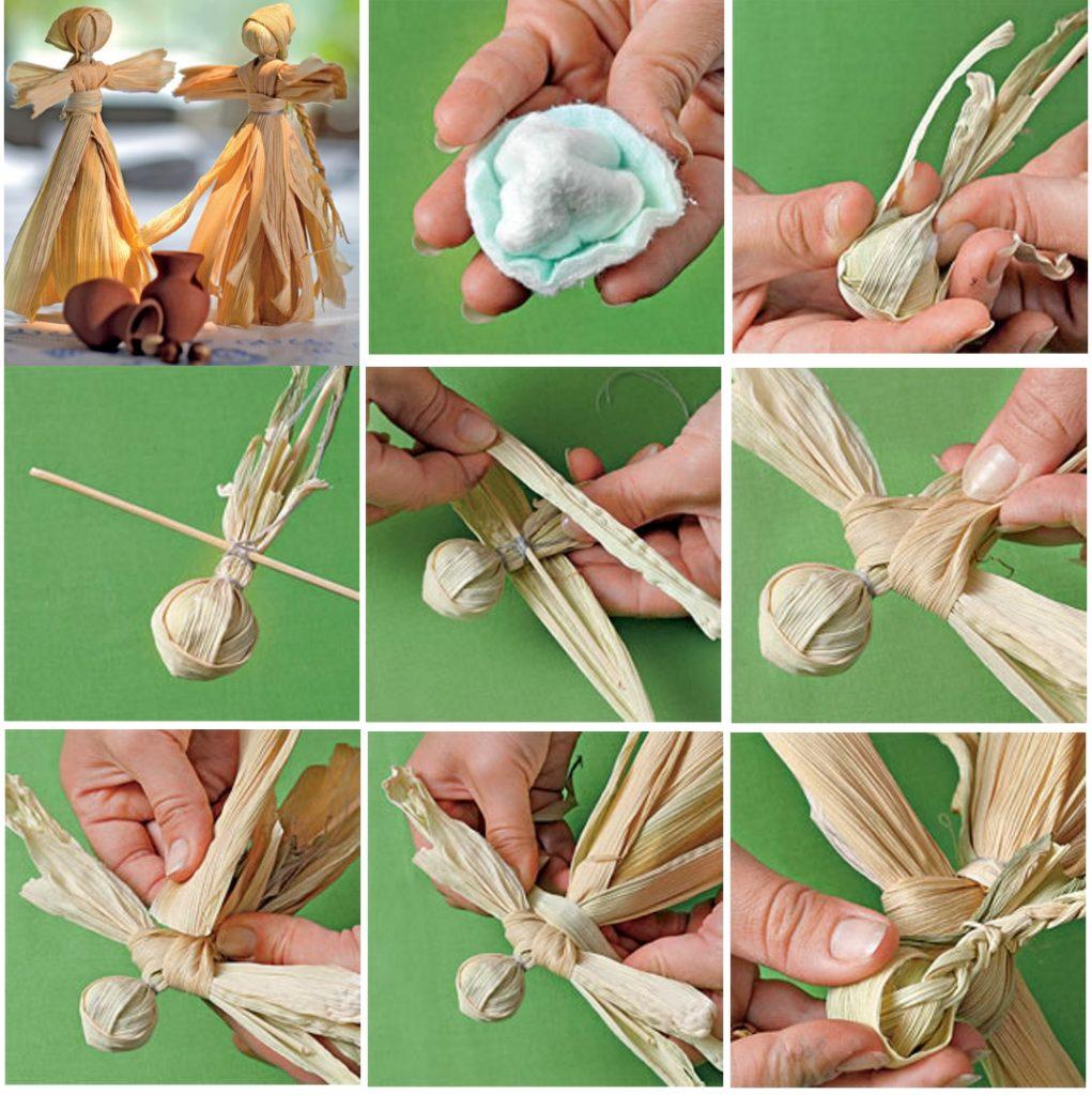 Изготовление куклы - масленицы из полосок гофрированной бумаги