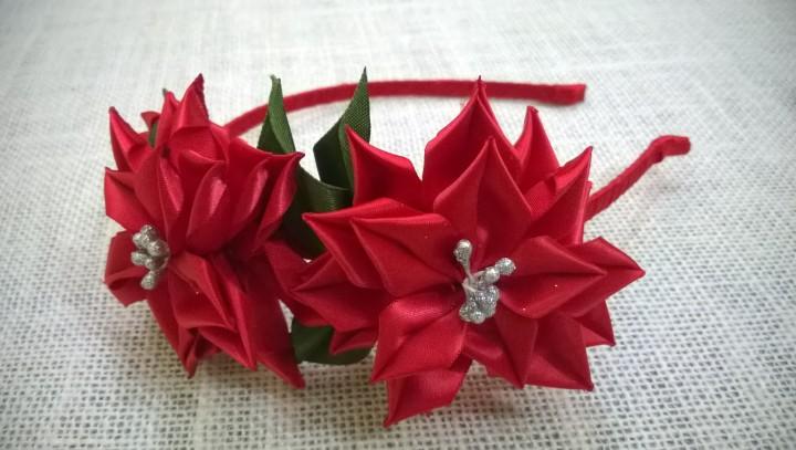 Цветы из атласных лент для украшений