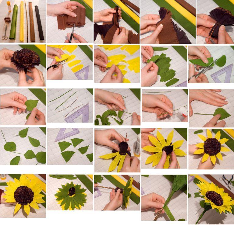 Подсолнухи цветы из гофрированной бумаги своими руками