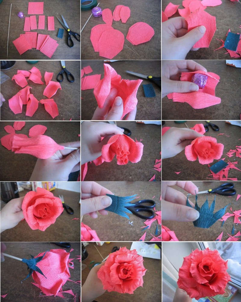 Изготовление розы из гофрированной бумаги с конфетой - основанием