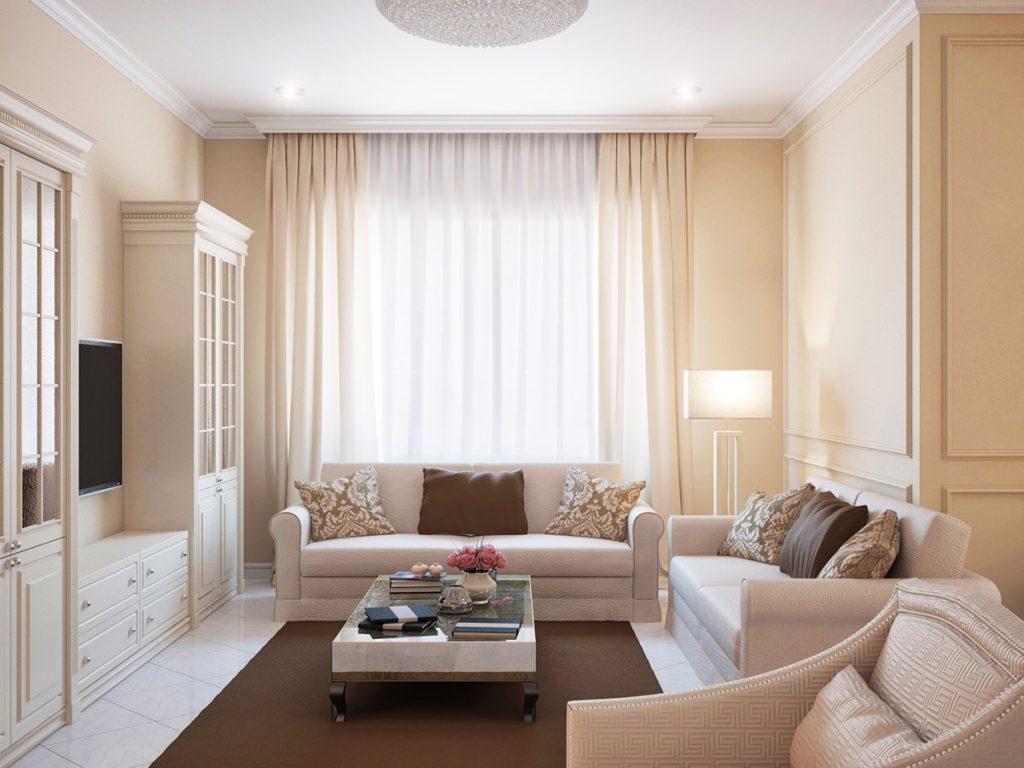 Светлые шторы в маленьких гостиных