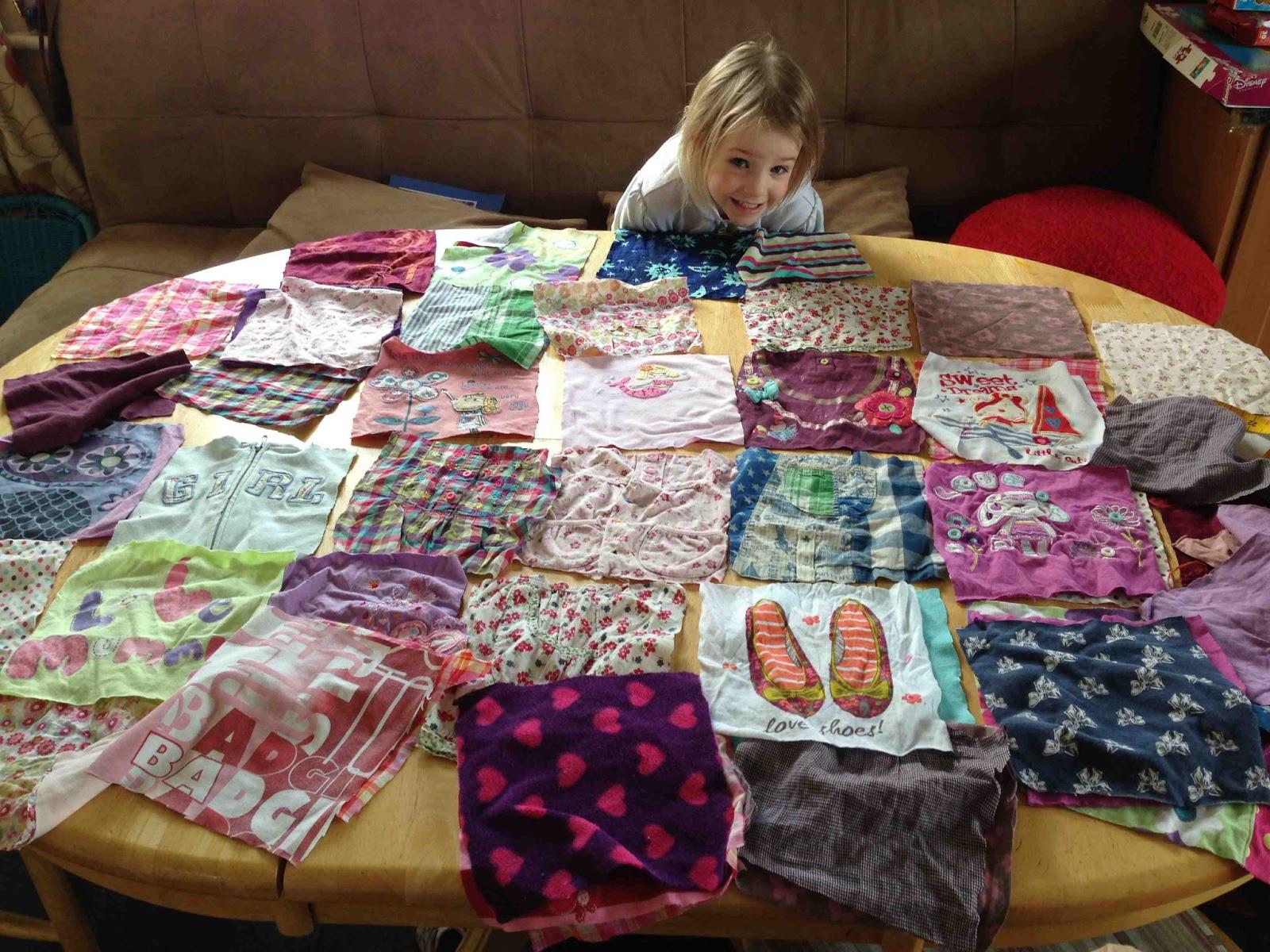 Кусочки ткани для памятного одеяла пэчворк