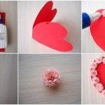 Фото 100: Украшение валентинки объемными цветами