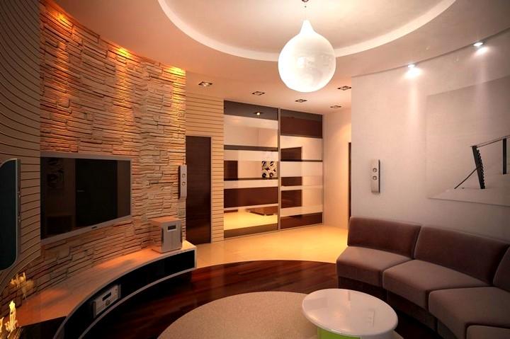 Дизайн потолка в гостиной2