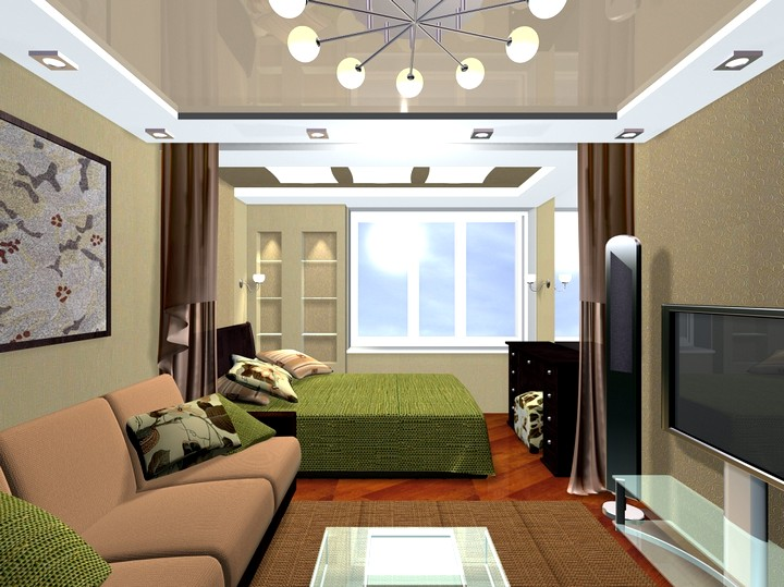 Дизайн спальни-гостиной фото 20 кв