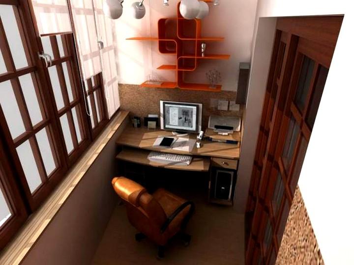 Стильный дизайн кабинета на балконе.