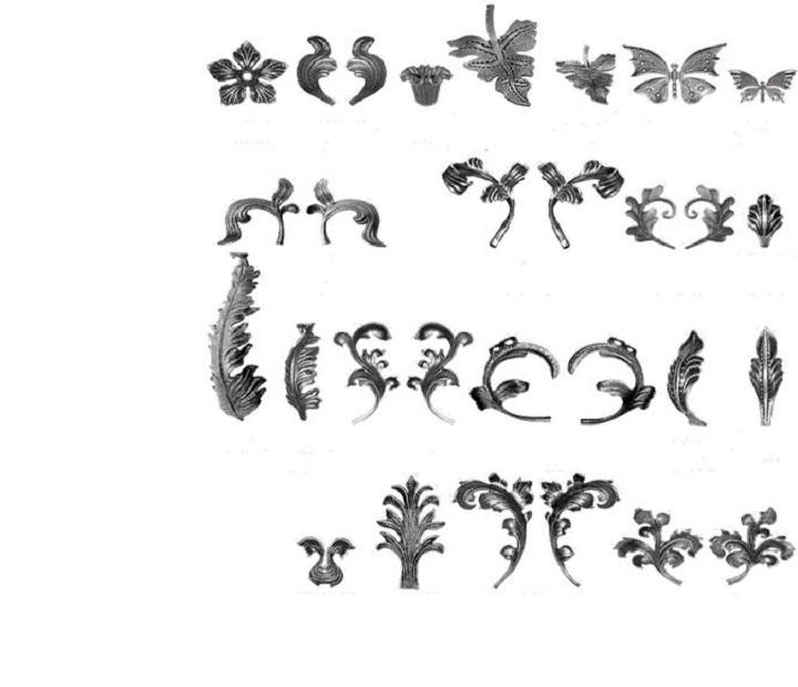Ассортимент кованых элементов для ворот и калиток