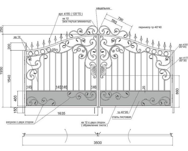 Эскиз кованых ворот в натуральную величину