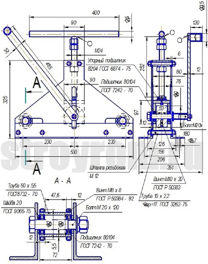 Чертеж ручного трубогиба для самостоятельного изготовления кованых элементов ворот