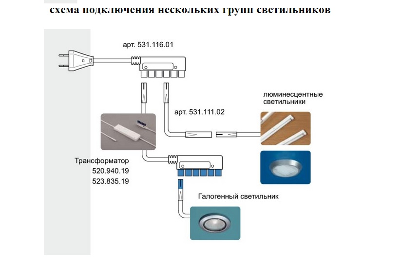 Схема подключения прожектора с пульта