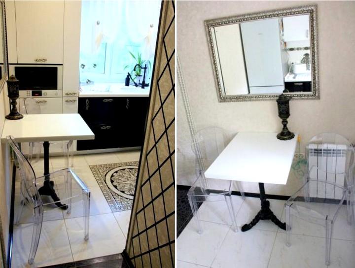Барный-столик-на-маленькой-кухне-у-стены