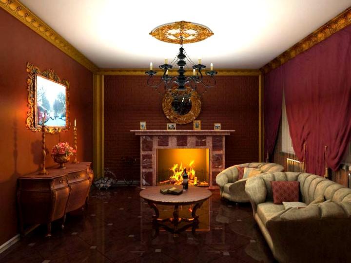 Классический дровяной камин в интерьере в классическом стиле