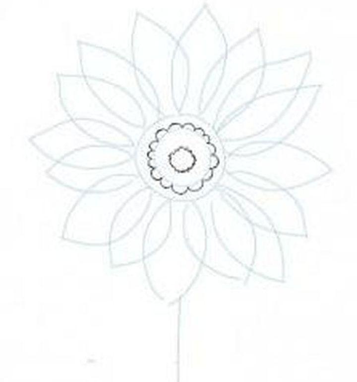 Вырисовывание сердцевины цветка