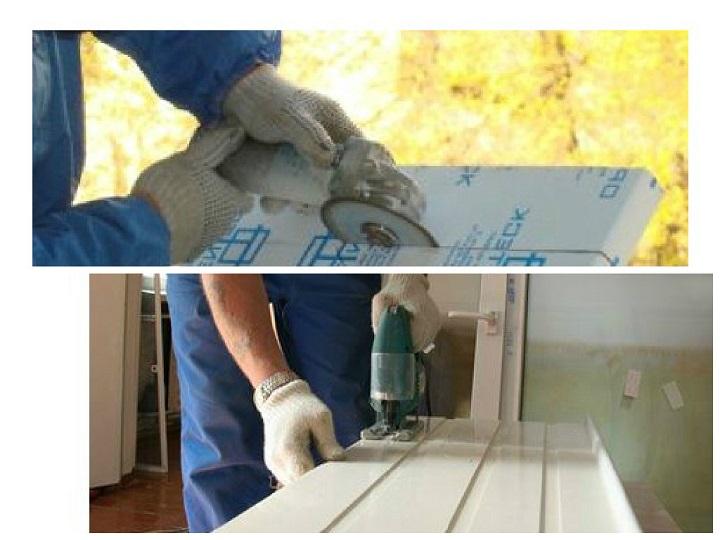 Крой плиты подоконника перед установкой в пластиковое окно