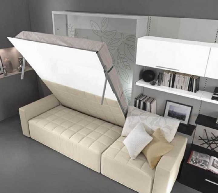 Шкаф-кровать с опорой на приставной мягкий уголок