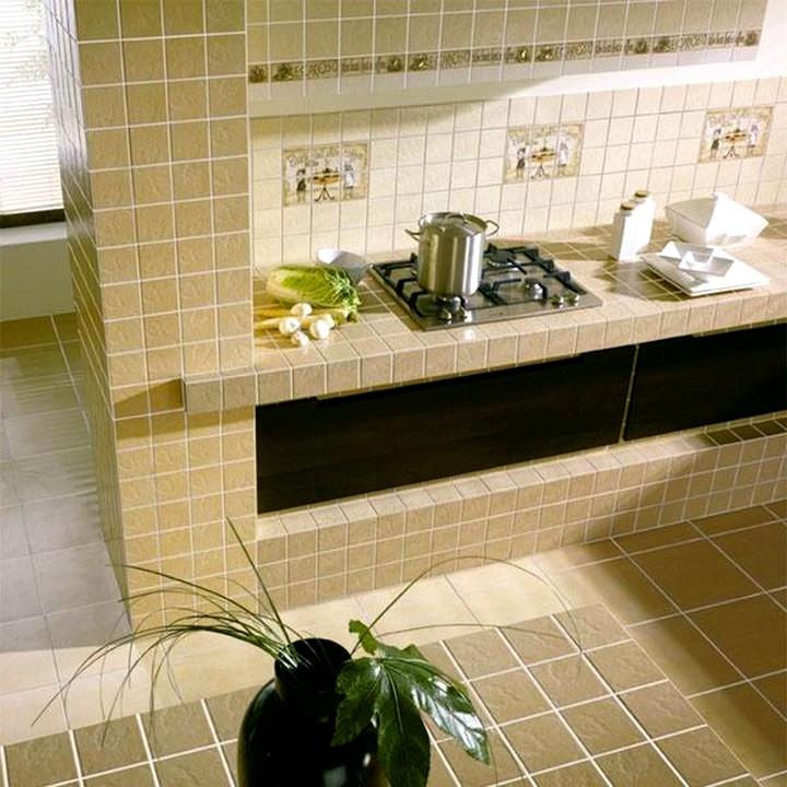 Плитка для кухни на фартук бежевая