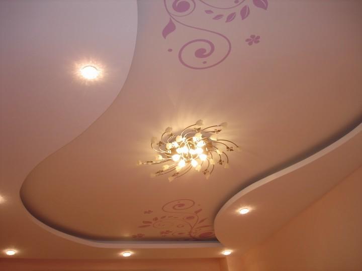 Потолок из гипсокартона с рисунком