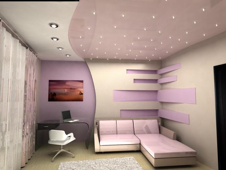 Красивый интерьер с натяжными потолками