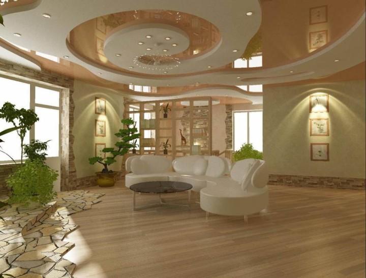 двухуровневый потолок в зале из гипсокартона фото