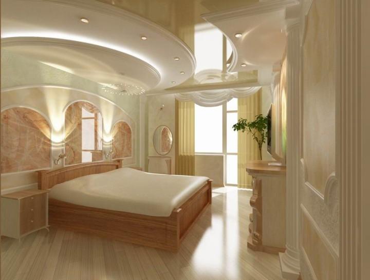 Двухуровневый потолок из гипсокартона в спальне