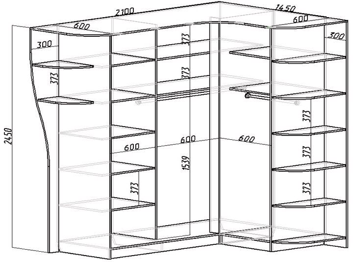 Схема внутреннего наполнения с размерами