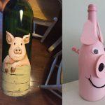 Фото 68: Декорирование бутылок к Году Свиньи
