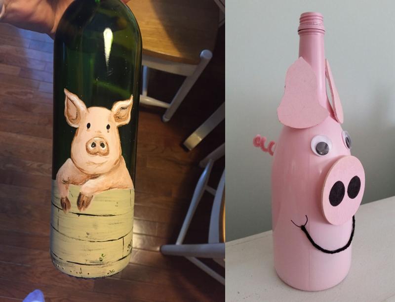Декорирование бутылок к Году Свиньи