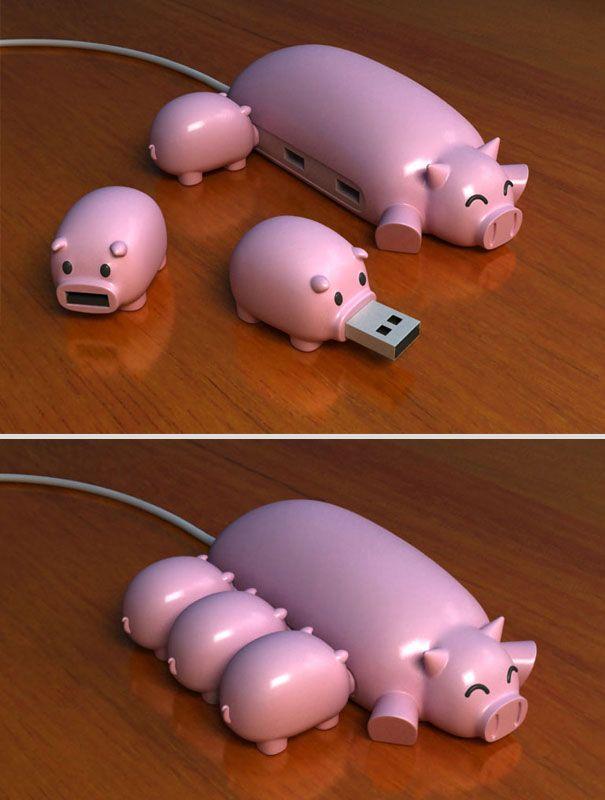 Флеш устройства в виде семьи свинок