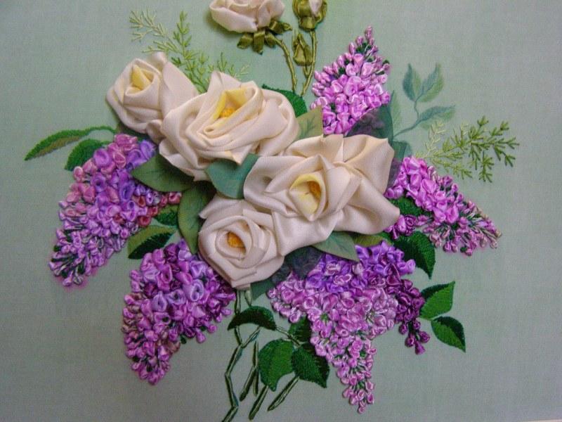 Вышивка цветов из атласных лент